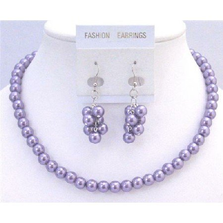 NS695  Beautiful Bridal Briedemaids Jewelry Victorian Lilac Necklace Set Inexpensive Under $10