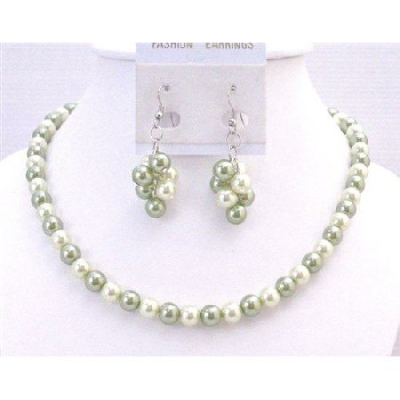 NS694 Color Combo Of Honeydew And Green Color Exclusively Wedding Jewelry Set Affordable