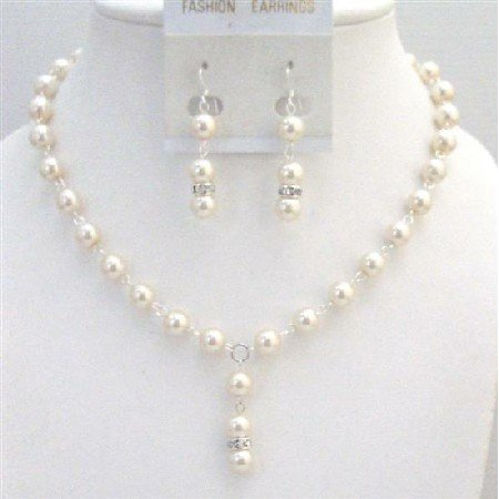 NS683 Beautiful Ivory Pearls Sterling Silver Earrings Jewelry Set Gorgeous Bridal Bridemaids