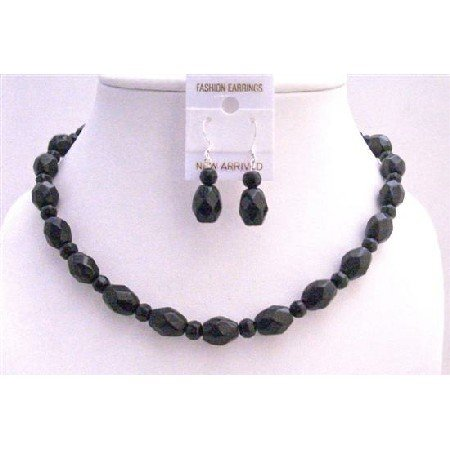 NS677 Handcrafted Artistically Custom Black Faceted Round Beads w/Oval Faceted Beads Necklace Set