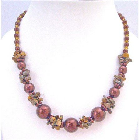 N798  Jasper Nugget Chips Topaz Glass Beads Maroon Pearls Necklace Under $10