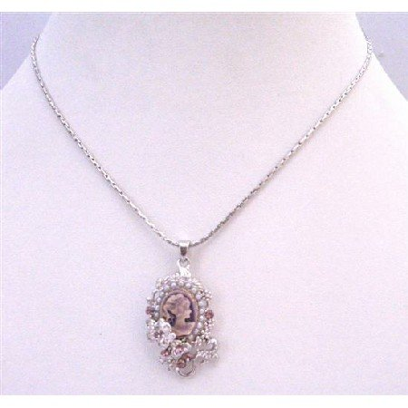 N790  Cameo Pendant Necklace Amethyst victorian Cameo Lady Pendant Necklace