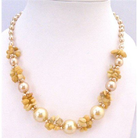 N789 Yellow Nugget Chips Glass beads Pearls Fancy Necklace Under $10 Necklace