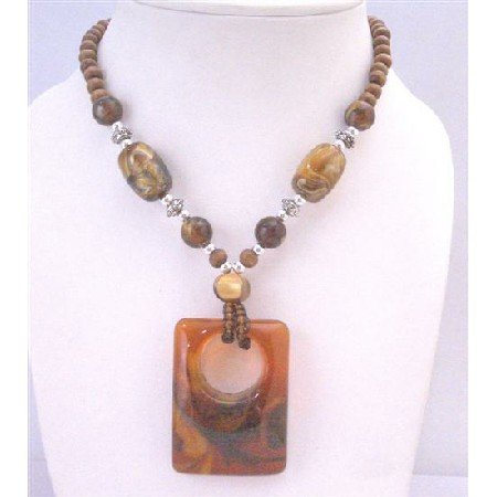 N786  Brown Jasper Jewelry Vintage Sequare Pendant Wooden Beads Long Necklace 22 Inches