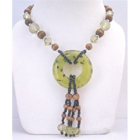 N783 Fancy Jade Round Pendant Drop Down Necklace Stylish Beads Glass Beads Acrylic Beads