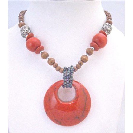 N780 Wooden Long Necklace Coral Red Beads w/Coral Red Colour Round Pendant Vintage Necklace