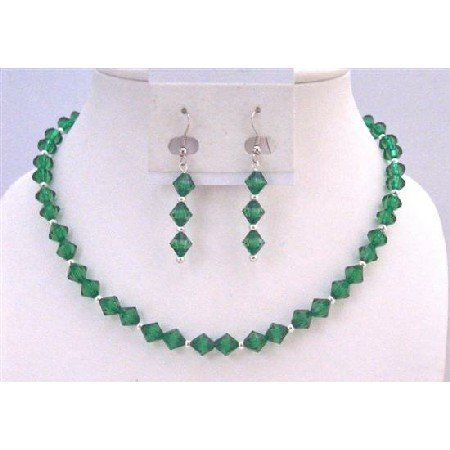UNS048 Emerald Crystals Necklace Earrings Bridemaides Flower Girl Jewelry Set