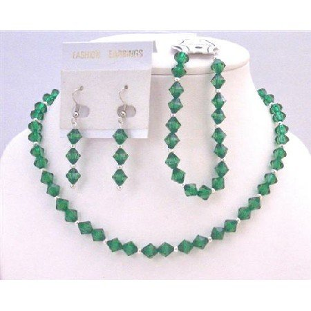 UNS047  Necklace Earrings Bracelet Jewelry Set Emerald Crystals Wedding Jewelry Set