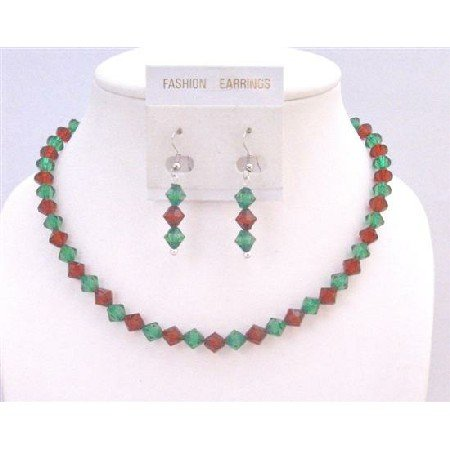 UNS046 Christmas Gift Crystals Necklace SEt Green/Red Necklace Earrings Jewelry Set