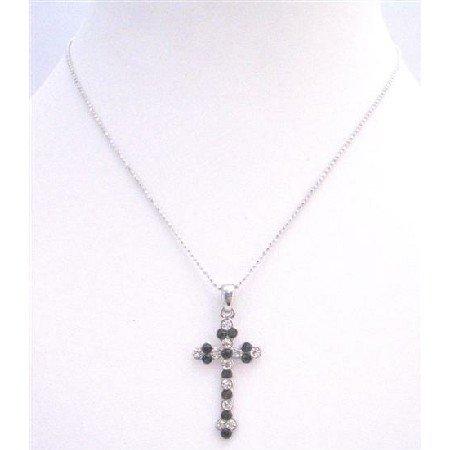 UNE163  Delicate Sleek Black Cross Pendant With Black Beads & Embedded w/ Diamante