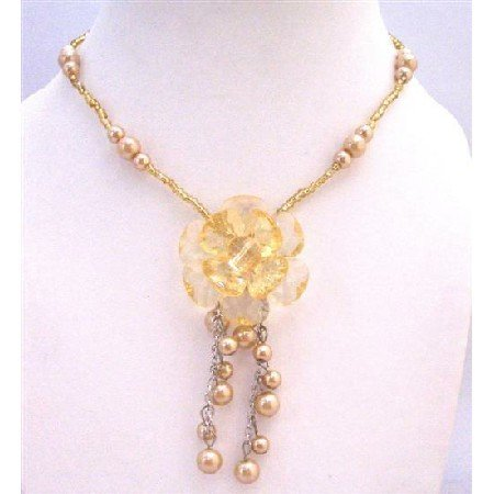 UNE151  Flower Dangling Necklace Under $5 Necklace Gift Champagne Pearls With Golden Beads