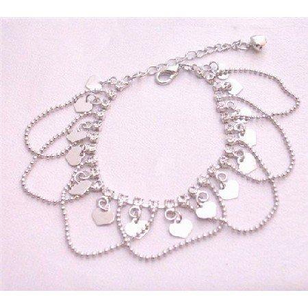 UBR198  Heart Charm Dangling Bracelet New Gorgeous Diamanted Elegant Jewelry Gift