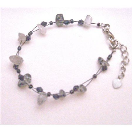 UBR183  Black White Stone Nugget Fancy Fashionable Bracelet With Black Glass Beads Bracelet