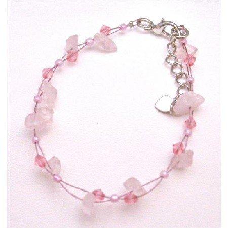 UBR178  Pink Stone Nuggets Bracelet Matching Glass Pink Beads Bracelet