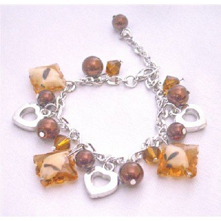 UBR174 Brown Beads Pearls Heart Charm Brown Pearls Bracelet Thicked Chained Dangling Bracelet
