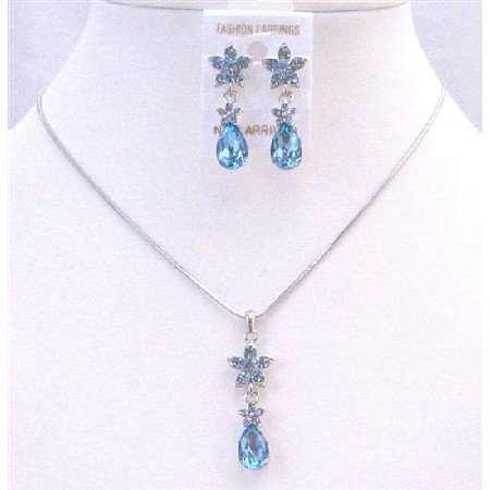 NS659 Aquamarine Blue Crystals Necklace Set Aquamarine Crystals Teardrop Flower Decorated