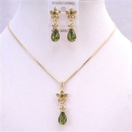 NS657 Golden Chain Necklace Set w/ Olivine Teardrop Golden Flower Decorated Evening Party