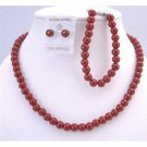 NS653  Red Pearls Complete Set Necklace Earrings Bracelet Beautiful Red Pearls Wedding Gift