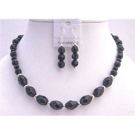 NS652 Custom Black Faceted Round Beads w/ Oval Faceted Beads Necklace Set w/ Silver Spacing