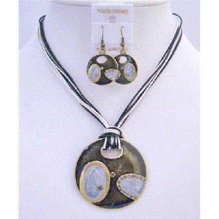 NS648  Black & White Jewelry Set Multi String Black White With Black Round Pendant Jewelry