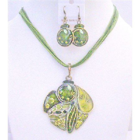 NS643 GIft Jewelery Under $15 High Quality Olivine Necklace Set Multi Stranded Olivine Necklace