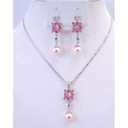 NS639 Bridemaids Jewelry Set Pink Pearls Rhinestone Wedding Necklace Set Flower Necklace Set