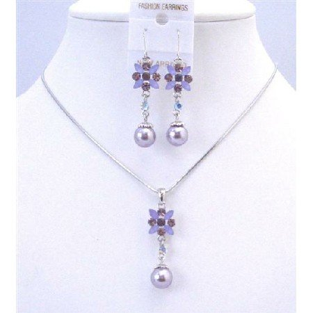 NS638 Purple Amethyst Wedding Jewelry Set Purple Enamel Flower Necklace Set w/ Pearls Dangling