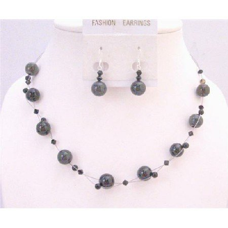 NS635 Jet Crystals Jewelry Swarovski Necklace Set w/Agate Glass Beads Floating Necklace Set