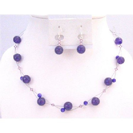 NS634 Amethyst Swarovski Crystals Floating Illusion Necklace Set w/ Amethyst Glass Beads