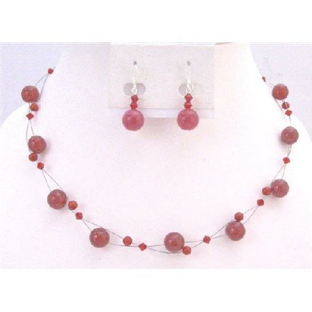 NS631 Siam Red Swarovski Crystals Necklace Set w/  Red Glass Beads