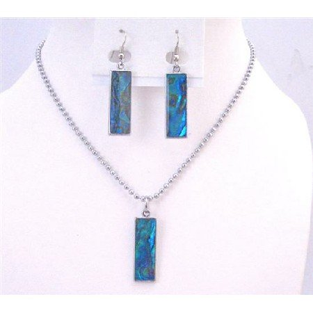 NS628  Gift Jewelry Under $10 Abalone Shell Coated DogTag Pendant Mother Of Shell Jewelry Set
