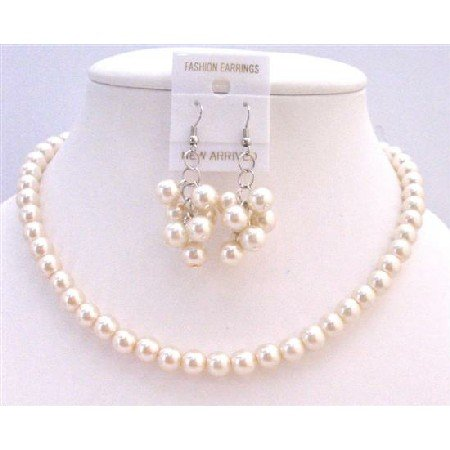 NS623  Ivory Pearls Bridal Bridemaids Flower Girl Wedding Jewelry Set Under $10 Jewelry Set