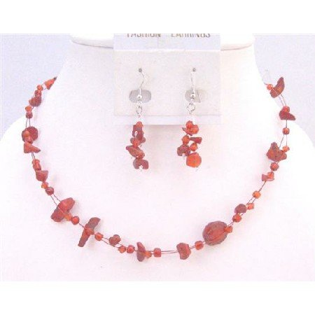 NS621 Coral Nugget Necklace Sets Under $10 Jewelry Glass Beads W/ Immitation Crystals Accented