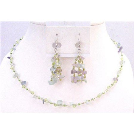 NS620Necklace Set Fluoritr Glass Beads Nugget Chips W/ Immitation Crystals & Tiny Glass Beads