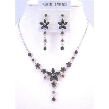 NS309  Elegant Beautiful Vintage Necklace Set Jet Crystals & Silver Plated Necklace & Earrings