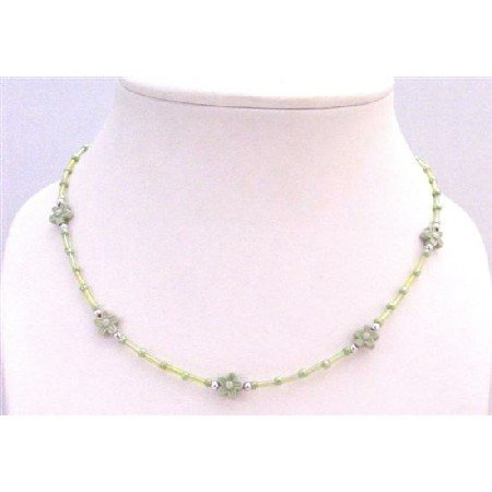 GC156  Girls Return Gift Necklace Grey Pipe Necklace w/Grey Flower Very Soft Tender Clasp Necklace