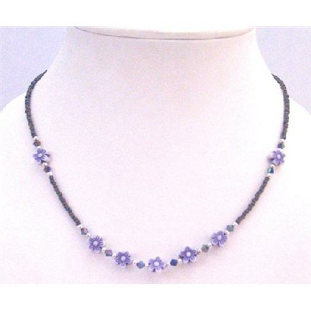 GC153  Lavender Amethyst Girls Necklace Tiny Amethyst w/ Lavender Flowers Decorated
