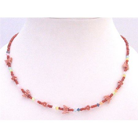 GC152 Red Beaded Necklace With Tiny Flowers & Butterfly Girls Necklace Gift Girls Necklace