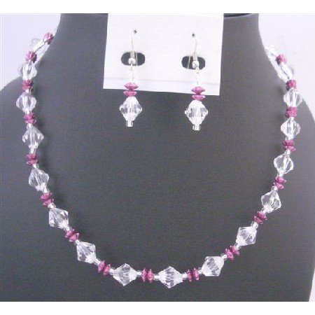 UNS041 Daisy Spacer Jewelry Set Clear Crystals w/Fuschia Daisy Spacer Immitation Crystals Set