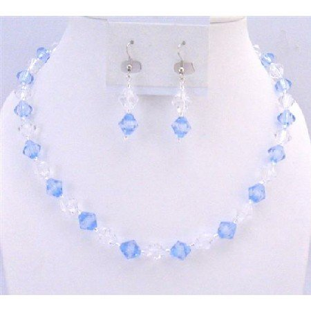 UNS037 Wedding Bridemaides Jewelry Lite Blue & Clear Immitation Crystals Cute Fancy Set