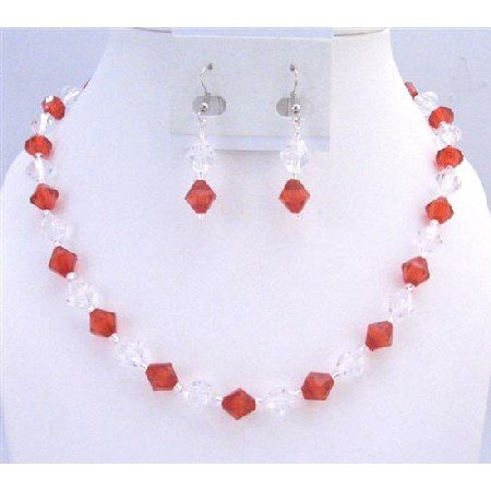 UNS035 Red & Clear Crystals Cheap Wedding Jewelry Set Immitation Crystals Fashionble Set