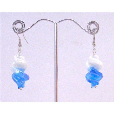UER359  Twisted Double Shaded Earrings White/Blue Earrings Cheap Earrings Under $5 Earrings