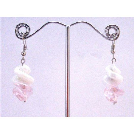 UER357  White/Pink Twisted Stylish Fashionable Earrings Fashionable Dangling Earrings