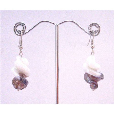 UER356  Twisted Earrings White/Amethyst Trendy Earrings Fashionable Dangling Earrings