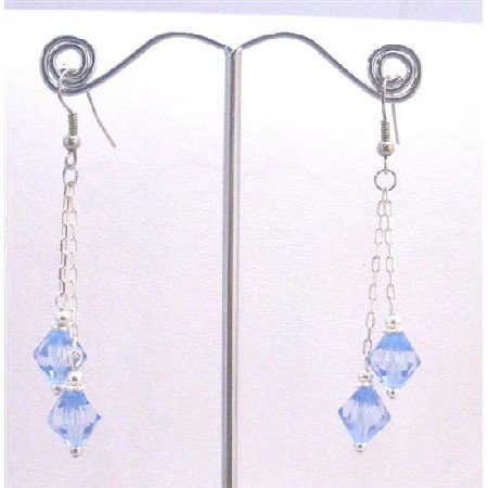 UER354  Lite Sapphire Bicone Crystals Double String Fabulous Dangling Earrings