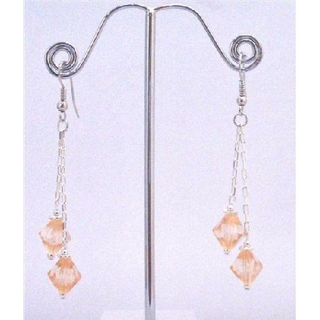 UER349  Dangling Earrings String Stylish Earrings Peach Bicone Crystals Earrings 8mm