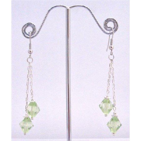 UER348  Peridot Crystals Earrings 8mm Bicone Chinese Crystals Double Strings Earrings Stylish