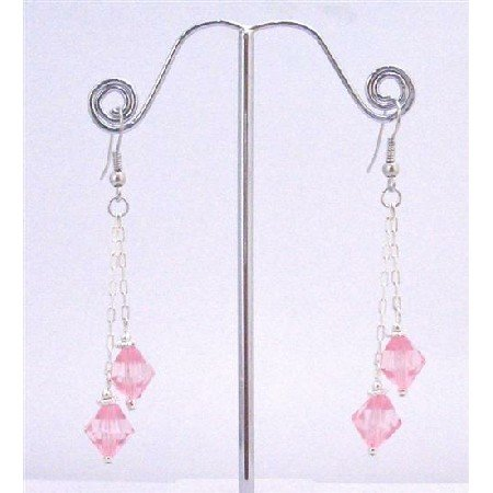 UER347  Chinese Pink Crystals Dangling Double Strings Earrings 8mm Bicone Pink Crystals