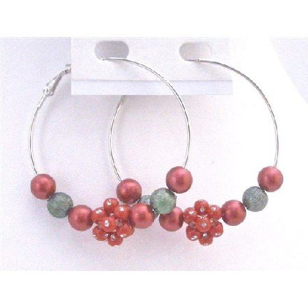 UER340 Hoop Earrings Christmas Earrings Fancy Beads Red Green Beads Flower Beads w/Diamante