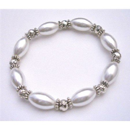 UBR159  White Oval Pearls Stretchable Bracelet w/Bali Silver Beads Affordable Inexpensive Bracelet